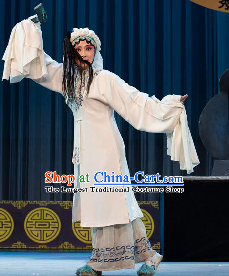 Chinese Sichuan Opera Young Female Garment Costumes and Hair Accessories Shattered Crypt Traditional Peking Opera Distress Maiden Dress Apparels