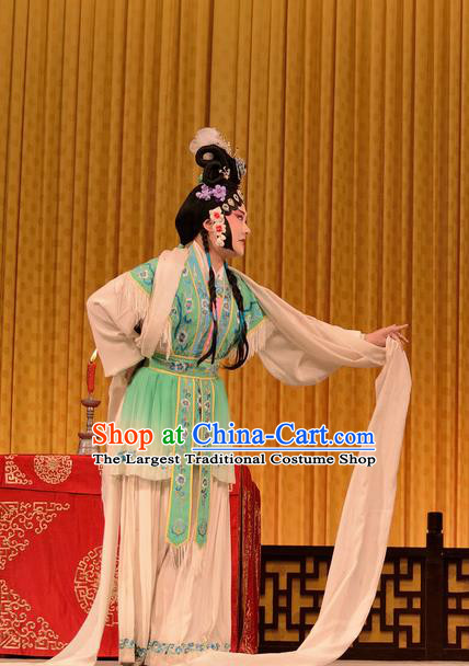 Chinese Sichuan Opera Hua Tan Lian Niang Garment Costumes and Hair Accessories Mother of Mu Lian Traditional Peking Opera Actress Dress Fairy Apparels