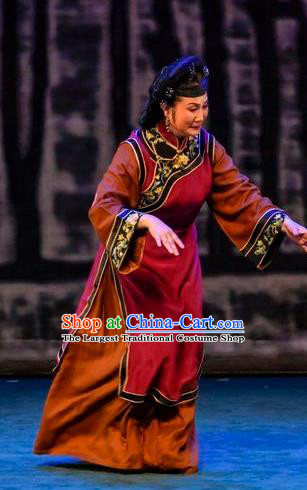 Chinese Sichuan Opera Dame Garment Costumes and Hair Accessories Scholar of Ba Shan Traditional Peking Opera Elderly Female Dress Country Woman Apparels