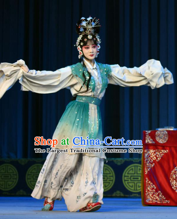 Chinese Sichuan Opera Actress Garment Costumes and Hair Accessories Traditional Peking Opera Diva Dress Fairy Lian Niang Apparels