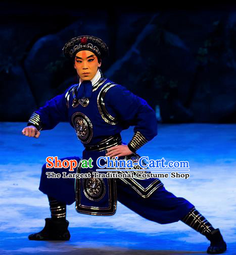 Mrs Anguo Chinese Peking Opera Wusheng Blue Garment Costumes and Headwear Beijing Opera Martial Male Apparels Takefu Clothing
