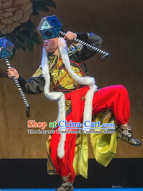Chinese Sichuan Opera Martial Man Apparels Costumes and Headpieces Peking Opera Wusheng Garment Soldier Clothing
