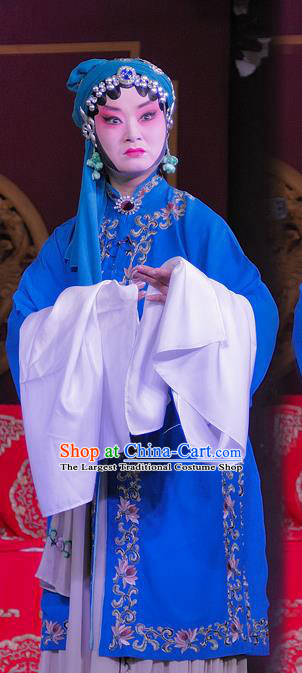 Chinese Sichuan Opera Tsing Yi Garment Costumes and Hair Accessories Traditional Peking Opera Young Female Dress Distress Maiden Apparels