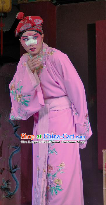 Chinese Sichuan Opera Young Male Apparels Costumes and Headpieces Peking Opera Clown Garment Pink Robe Clothing