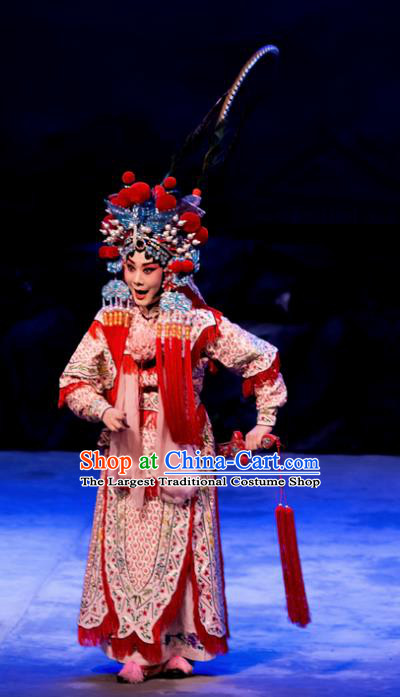 Chinese Beijing Opera Swordswoman Liang Hongyu Apparels Costumes and Headpieces Traditional Peking Opera Mrs Anguo Martial Female Dress Garment