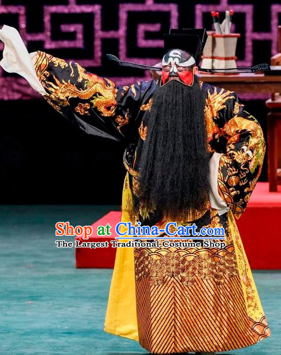 Qin Xianglian Chinese Sichuan Opera Official Bao Zheng Apparels Costumes and Headpieces Peking Opera Elderly Male Garment Painted Role Clothing