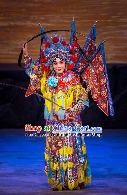 Chinese Beijing Opera General Kao Armor Suit with Flags Apparels Costumes and Headpieces Traditional Peking Opera Mrs Anguo Diva Liang Hongyu Dress Garment