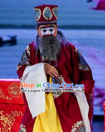 He Zhu Pei Chinese Sichuan Opera Landlord Jin Sanguan Apparels Costumes and Headpieces Peking Opera Elderly Male Garment Ministry Councillor Clothing