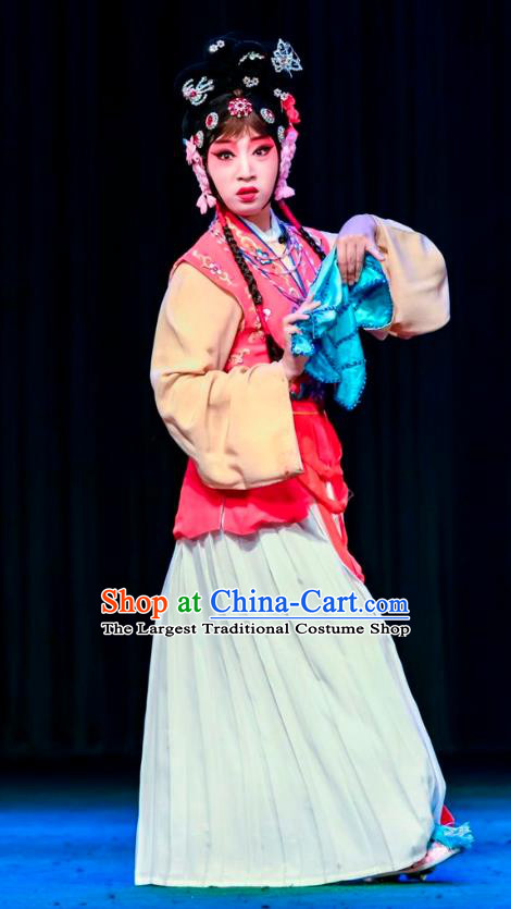Chinese Sichuan Opera Maid Lady Chun Cao Garment Costumes and Hair Accessories Traditional Peking Opera Servant Girl Dress Xiaodan Apparels