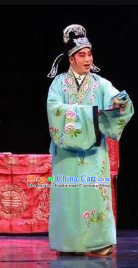 He Zhu Pei Chinese Sichuan Opera Niche Apparels Costumes and Headpieces Peking Opera Scholar Zhao Peng Garment Young Male Clothing