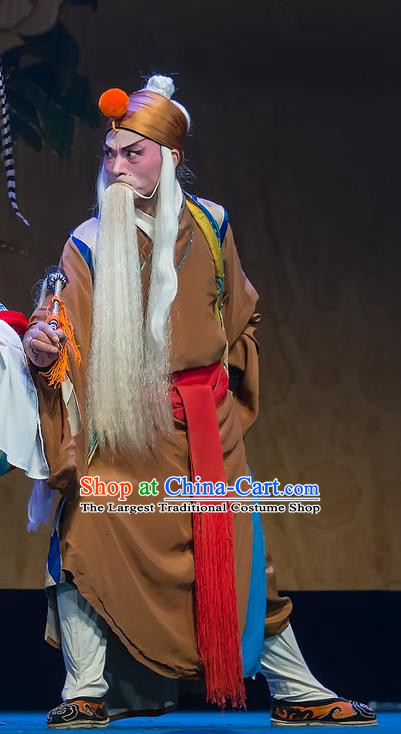 Chinese Sichuan Opera Taoist Priest Apparels Costumes and Headpieces Peking Opera Elderly Male Garment Laosheng Clothing