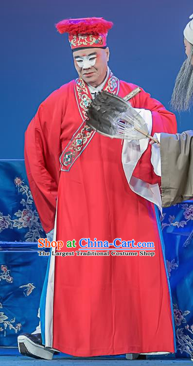 Xi Guan Ferry Chinese Sichuan Opera Merchant Apparels Costumes and Headpieces Peking Opera Rich Male Garment Landlord Chen Cai Clothing