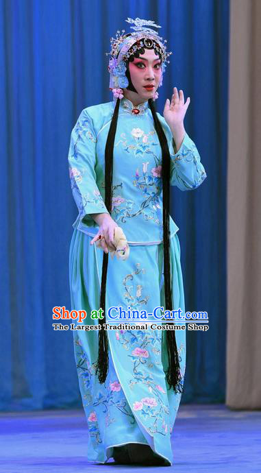Chinese Beijing Opera Young Beauty Wang Shuying Apparels Costumes and Headpieces Traditional Peking Opera Yu Bei Pavilion Xiaodan Blue Dress Garment