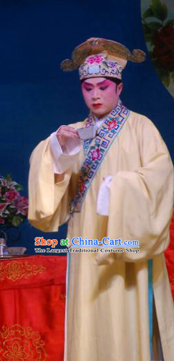 Fang You Chinese Sichuan Opera Niche Liang Shanbo Apparels Costumes and Headpieces Peking Opera Xiaosheng Garment Scholar Clothing