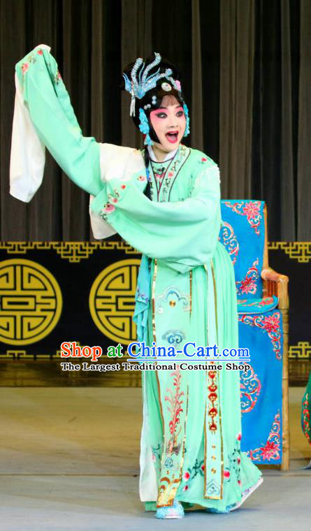 Chinese Sichuan Opera Diva Garment Costumes and Hair Accessories Fang You Traditional Peking Opera Hua Tan Green Dress Actress Apparels