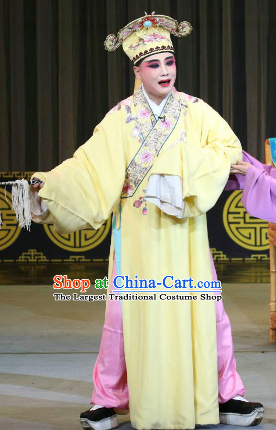Fang You Chinese Sichuan Opera Xiaosheng Apparels Costumes and Headpieces Peking Opera Scholar Liang Shanbo Garment Niche Yellow Clothing