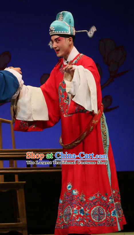 He Zhu Pei Chinese Sichuan Opera Number One Scholar Zhao Peng Apparels Costumes and Headpieces Peking Opera Young Male Garment Niche Clothing