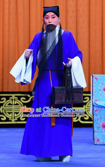 Yu Bei Pavilion Chinese Peking Opera Elderly Scholar Garment Costumes and Headwear Beijing Opera Laosheng Blue Robe Apparels Clothing