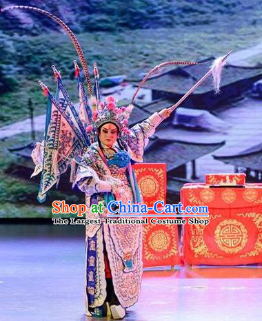 Yuan Men Zhan Zi Chinese Sichuan Opera General Yang Zongbao Apparels Costumes and Headpieces Peking Opera Military Officer Garment Kao Clothing with Flags