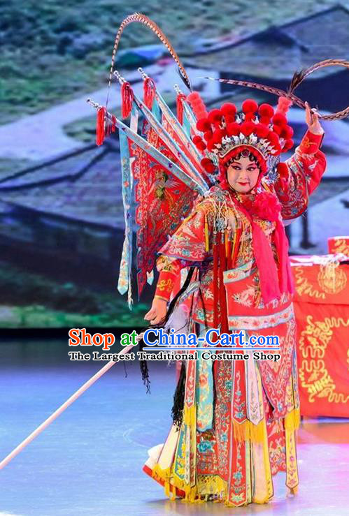 Chinese Sichuan Opera Tao Ma Tan Garment Costumes and Hair Accessories Yuan Men Zhan Zi Traditional Peking Opera Blues Mu Guiying Dress Apparels with Flags
