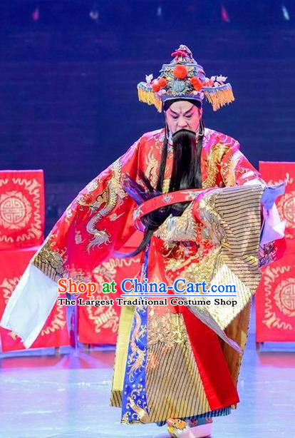 Yuan Men Zhan Zi Chinese Sichuan Opera Laosheng Apparels Costumes and Headpieces Peking Opera Elderly Male Garment Marshal Yang Yanzhao Clothing