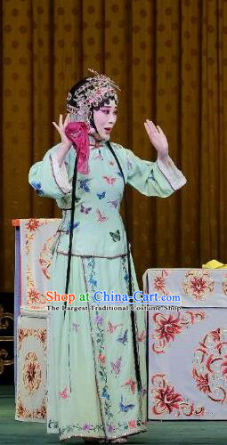 Chinese Beijing Opera Young Lady Apparels Costumes and Headpieces Traditional Peking Opera Yu Bei Pavilion Xiaodan Wang Shuying Green Dress Garment