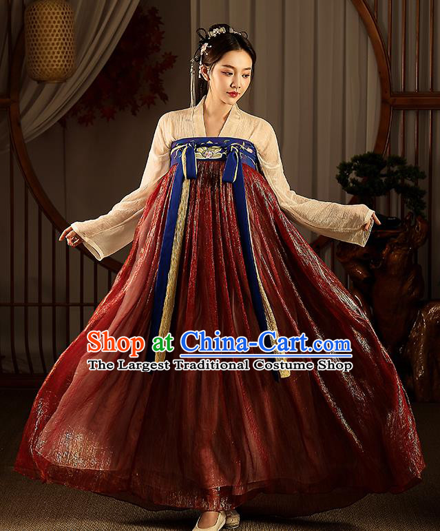 Chinese Tang Dynasty Hanfu Dress Traditional Apparels Ancient Drama Civilian Lady Historical Costumes Complete Set for Women