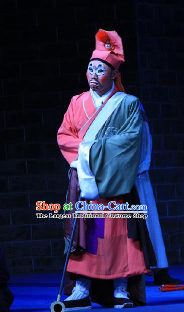 Love Bell Tower Chinese Peking Opera Ugly Servant Garment Costumes and Headwear Beijing Opera Clown Apparels Clothing