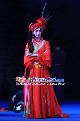 Chinese Beijing Opera Young Lady Red Apparels Costumes and Headpieces Traditional Peking Opera Love Bell Tower Hua Tan Ai Liya Dress Garment