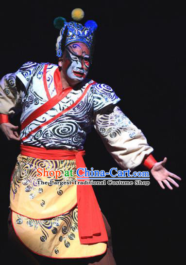 Love Bell Tower Chinese Peking Opera Wusheng Garment Costumes and Headwear Beijing Opera Ugly Servant Apparels Clown Clothing