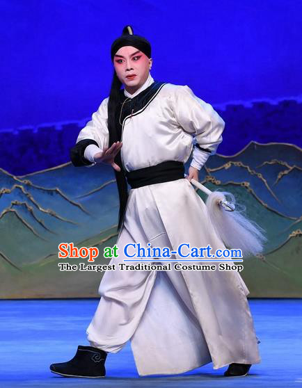 Luo Cheng Chinese Peking Opera Young Male Garment Costumes and Headwear Beijing Opera Swordsman Apparels Martial Male Clothing