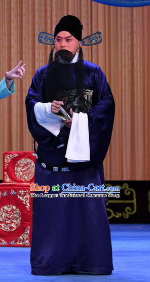 Gold Turtle Fishing Chinese Peking Opera Minister Garment Costumes and Headwear Beijing Opera Magistrate Zhang Xuan Apparels Official Clothing