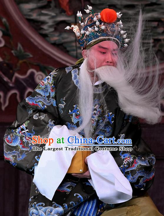Hong Zong Lie Ma Chinese Peking Opera Elderly Male Garment Costumes and Headwear Beijing Opera Chancellor Wang Yun Apparels Official Clothing