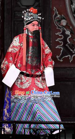 Hong Zong Lie Ma Chinese Peking Opera Xue Pinggui Garment Costumes and Headwear Beijing Opera Apparels General Official Clothing