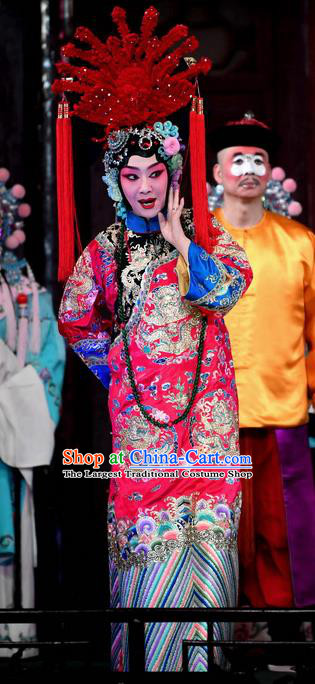 Chinese Beijing Opera Diva Princess Daizhan Apparels Costumes and Headdress Hong Zong Lie Ma Traditional Peking Opera Hua Tan Dress Actress Garment