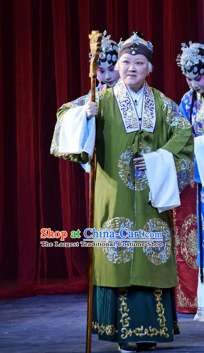 Chinese Beijing Opera Elderly Female Apparels Costumes and Headpieces Hong Zong Lie Ma Traditional Peking Opera Dame Wang Dress Garment