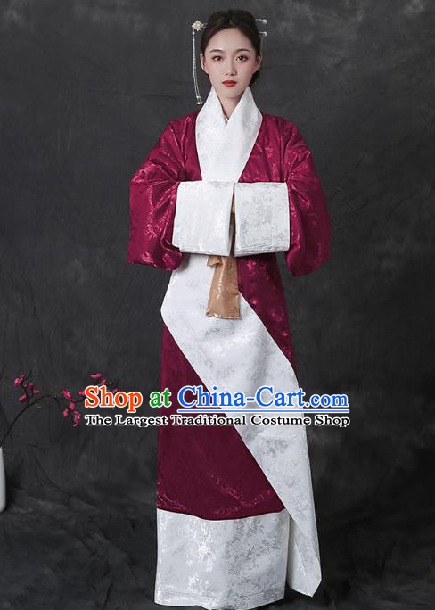 Chinese Han Dynasty Curving Front Robe Traditional Hanfu Dress Ancient Royal Princess Apparels Historical Costumes