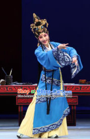 Chinese Beijing Opera Han Dynasty Countess Apparels Costumes and Headdress Xin Zhui Traditional Peking Opera Hua Tan Blue Dress Garment