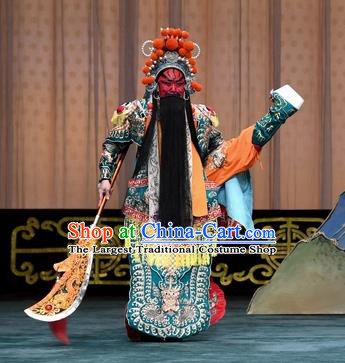 Changban Po Hanjin Kou Chinese Peking Opera General Guan Yu Armor Garment Costumes and Headwear Beijing Opera Wusheng Apparels Clothing