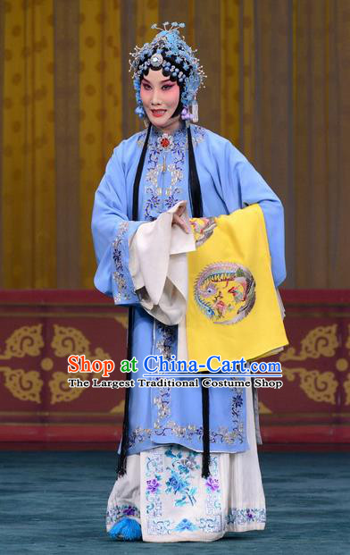 Chinese Beijing Opera Hua Tan Apparels Costumes and Headdress Changban Po Hanjin Kou Traditional Peking Opera Actress Dress Rani Gan Garment