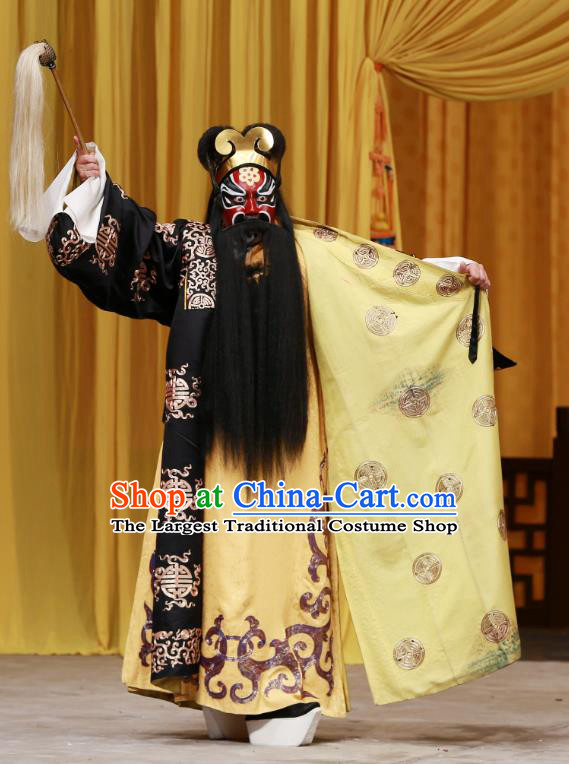 Sister Thirteen Chinese Peking Opera Elderly Male Garment Costumes and Headwear Beijing Opera Laosheng Apparels Official Clothing