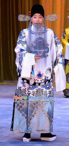 Da Bao Guo Er Jin Gong Chinese Peking Opera Official Yang Bo Garment Costumes and Headwear Beijing Opera Laosheng Apparels Clothing
