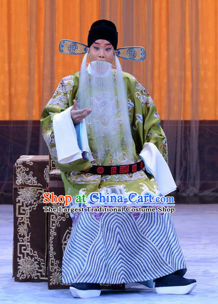 Da Bao Guo Er Jin Gong Chinese Peking Opera Official Garment Costumes and Headwear Beijing Opera Laosheng Yang Bo Apparels Elderly Male Clothing