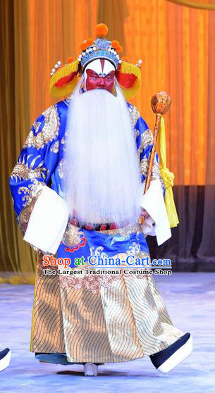Da Bao Guo Er Jin Gong Chinese Peking Opera Elderly Male Garment Costumes and Headwear Beijing Opera Lord Apparels Official Xu Yanzhao Clothing