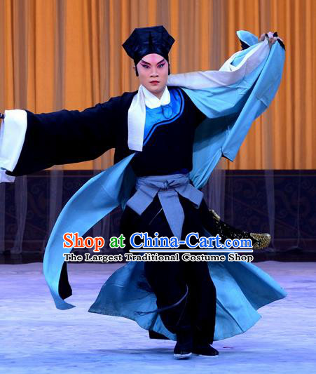 Da Ying Jie Lie Chinese Peking Opera Young Male Garment Costumes and Headwear Beijing Opera Martial Man Apparels Takefu Kuang Zhong Clothing