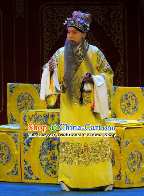 Tai Zhen Wai Zhuan Chinese Peking Opera Elderly Male Emperor Xuanzong Garment Costumes and Headwear Beijing Opera Laosheng Li Longji Apparels Clothing