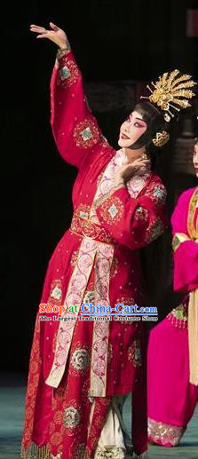 Chinese Beijing Opera Diva Apparels Costumes and Headpieces Tai Zhen Wai Zhuan Traditional Peking Opera Young Female Yang Yuhuan Garment Red Dress