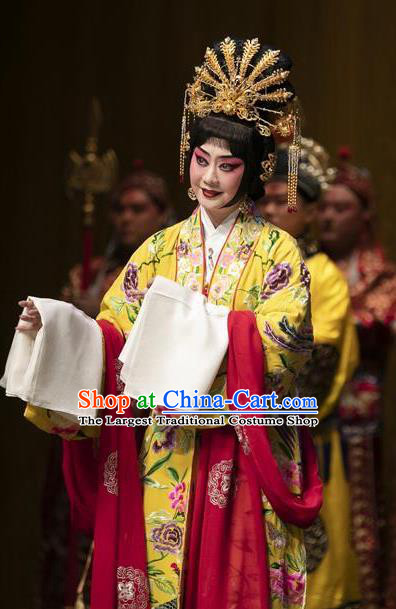 Chinese Beijing Opera Actress Apparels Costumes and Headpieces Tai Zhen Wai Zhuan Traditional Peking Opera Young Female Yang Yuhuan Garment Hua Tan Dress