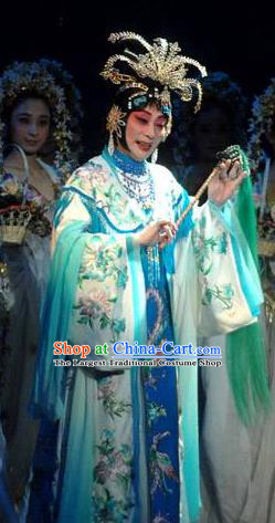 Chinese Beijing Opera Hua Tan Apparels Costumes and Headpieces Tai Zhen Wai Zhuan Traditional Peking Opera Imperial Consort Garment Green Dress