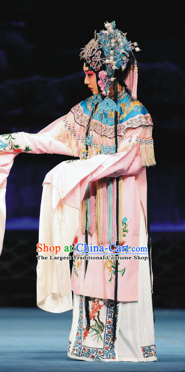 Chinese Beijing Opera Court Maid Apparels Costumes and Headdress Sacrifice Zhao Shi Gu Er Traditional Peking Opera Xiaodan Dress Garment